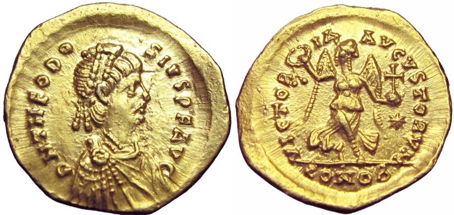 Ancient Coins - THEODOSIUS II.  402-450 AD. AV Tremissis