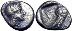 Ancient Coins - Philistia, Gaza AR Drachm. Circa 450-400 BC.