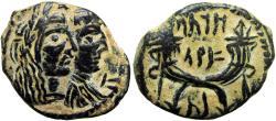 Ancient Coins - NABATAEA. Aretas IV, with Shaqilat. 9 BC-AD 40.