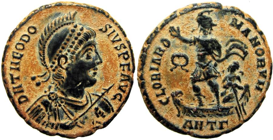 Ancient Coins - Theodosius I. AD 379-395. Stunning example with very bold portrait .