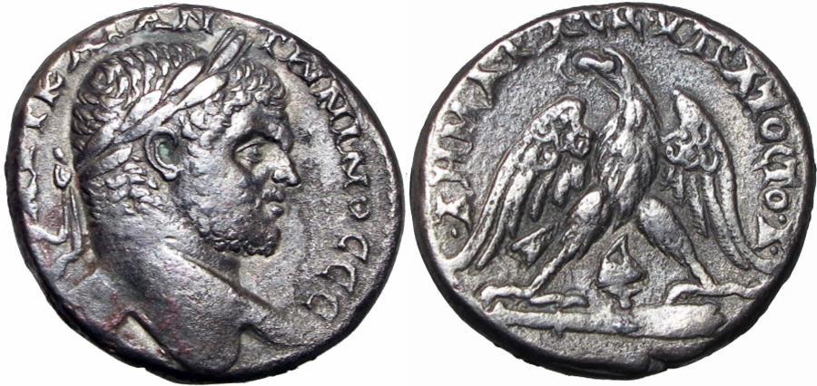 Ancient Coins - Caracalla AR Tetradrachm of Tyre, Phoenicia. AD 213-217.