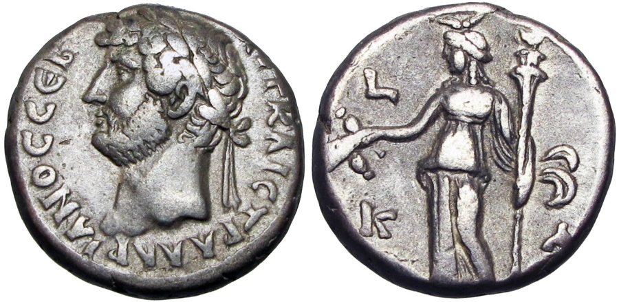 Ancient Coins - EGYPT, Alexandria. Hadrian BI Tetradrachm. Year 21, AD 136/7.