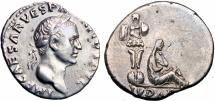 "Ancient Coins -  Vespasian. AD 69-79. AR Denarius (19mm, 3.14 g, 6h). ""Judaea Capta"" commemorative."