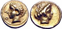 Ancient Coins - Kyrenaika, Kyrene AV 1/10 Stater. Circa 4th century BC.