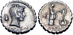 Ancient Coins - Roman Republic ; L. Roscius Fabatus AR Serrate Denarius. Rome, 59 BC.