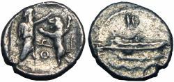 Ancient Coins - PHOENICIA, Sidon. Abdashtart I. Circa 365-352 BC. AR 1/16 Shekel .