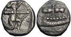 Ancient Coins - PHOENICIA, Sidon. Uncertain king. Circa 435-425 BC. AR Sixteenth Shekel . Very rare.