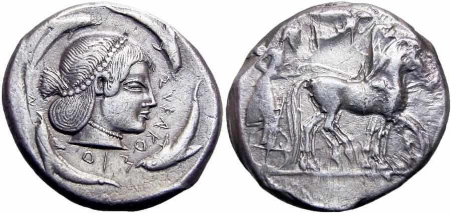 Ancient Coins -  Sicily, Syracuse AR Tetradrachm. Deinomenid Tyranny. Time of Hieron I, circa 480-475 BC.