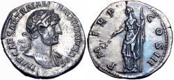 Ancient Coins - Hadrian. AD 117-138. AR Denarius, stunning with old cabinet toning. EX ROBERT O. EBERT COLLECTION.