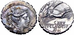 Ancient Coins - ROMAN REPUBLIC, TI. CLAUDIUS TI.F. AP.N. NERO. 79 BC. AR SERRATE DENARIUS . FROM THE FRANK GROVE AND ROBERT GROVER COLLECTIONS , 1986.