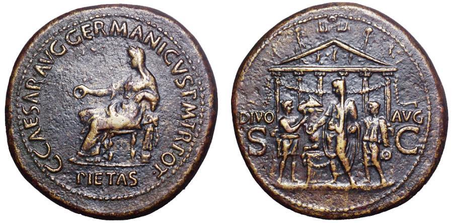 Ancient Coins - Caligula Æ Sestertius. Rome, AD 37-38.
