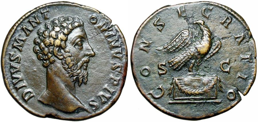 Ancient Coins - Divus Marcus Aurelius Æ Sestertius. Struck under Commodus in Rome, AD 180.