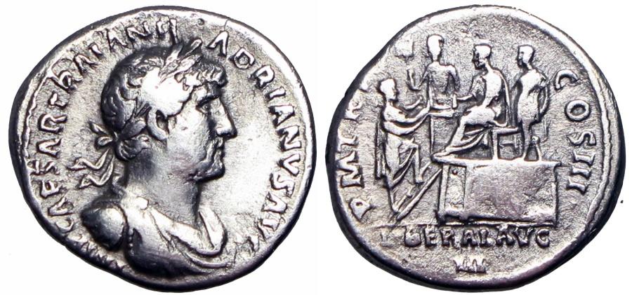 Ancient Coins - Hadrian AR Denarius. Rome, AD 119-122. Scrace bust type !!!