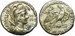 Ancient Coins - M. Plaetorius M.f. Cestianus, moneyer. AR Denarius minted at Rome, 67 BC.