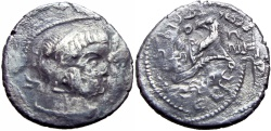 Ancient Coins - NABATAEA. Obodas II, with Hagaru I. 30-9 BC. AR Didrachm.