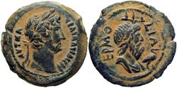 Ancient Coins - Hadrian Æ Obol of Alexandria, Egypt. Dated RY 11 = AD 126/7. the finest of rare type.