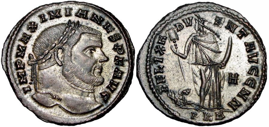 Ancient Coins - Maximian Æ Nummus. Carthage, circa AD 298. Much silvering .