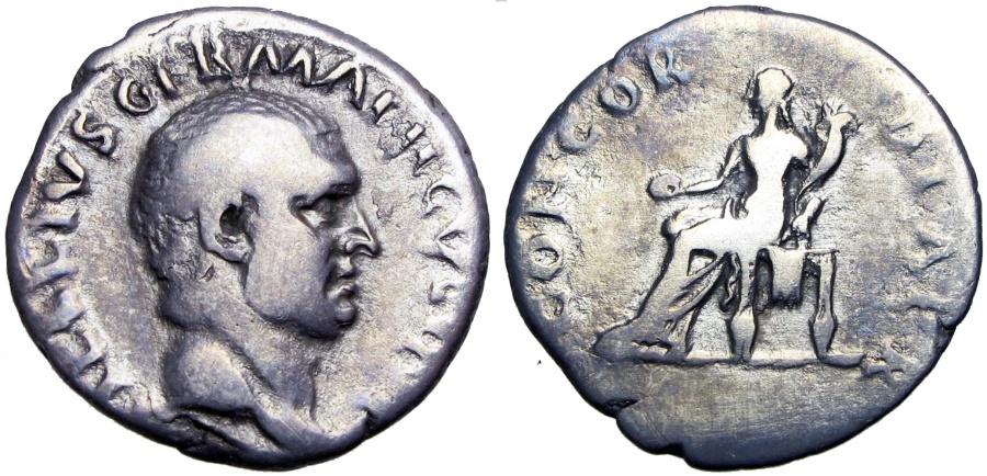 Ancient Coins - Vitellius. AD 69. AR Denarius .