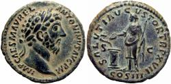 Ancient Coins - Marcus Aurelius Æ As ,Rome, AD 163. Rare and stunning example.