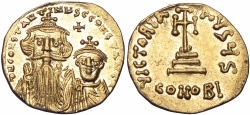 Ancient Coins - CONSTANS II, with CONSTANTINE IV. 641-668 AD. AV Solidus.
