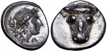 Ancient Coins - Phokis, Federal Coinage AR Triobol. Time of the Third Sacred War, circa 354-352 BC. Stunning example.