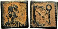 Ancient Coins - Zeno. AD 476-491.  Semissis Æ Square monetary weight for the 10 Siliquae, Second known.