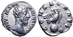 Ancient Coins - Divus Marcus Aurelius. Died AD 180. very interesting light weight (1.80 gm) .
