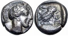 Ancient Coins - ATTICA, Athens. Circa 454-404 BC. AR Drachm, Rare .