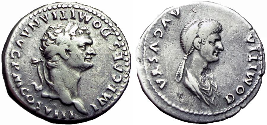 Ancient Coins - DOMITIAN. 81-96 AD, and Domitia Tetradrachm ,Rare .