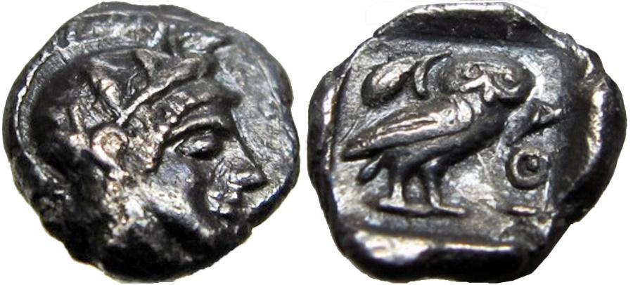 Ancient Coins - ATTICA, Athens. Circa 454-404 BC. AR Hemiobol (0.32 gm) stunning !!!