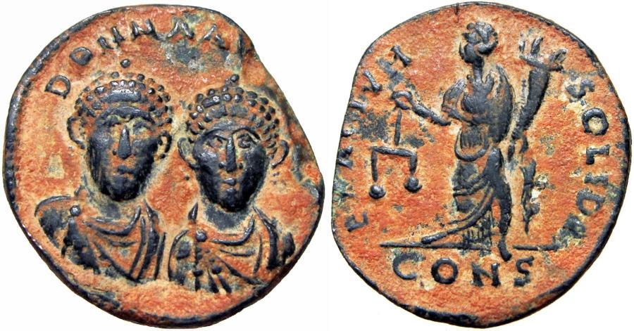 Ancient Coins - Honorius & Theodosius II. AD 408-423. Æ Exagium Solidi Weight, stunning details.