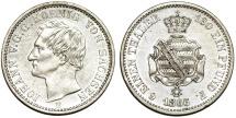 World Coins - Germany. Saxony. Johann I. AR 1/6 Thaler 1866/5 B. Nice AU.