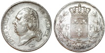 World Coins - France. king Louis XVIII., Second Gouvernement Royal, 1815-1824. Silver 5 Francs 1824 K. Choice XF.