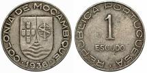 Mozambique as Portuguese Colony. CuNi RARE 1 Escudo 1936. Choice VF