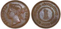 World Coins - Straits Settlements. Victoria. AE 1 Cent 1897. Good VF