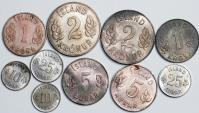Iceland. Lot of 10 Coins: 10 Aurar to 1 Krona 1949, 1963. AU/UNC