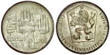 World Coins - Czechoslovakia. - Socialistic Republic. Silver 10 Korun 1964. 20th anniversary of Slovak Uprising . UNC