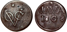 World Coins - Netherlands East Indies. Dutch Company. Java issue . Cu Duit 1808. FVF