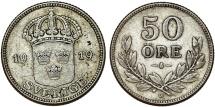 World Coins - Sweden. Gustaf V. AR 50 Ore 1919. AXF