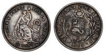 World Coins - Peru. AR 1/2 Dinero 1863. XF+