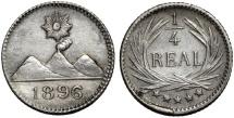 World Coins - Guatemala. Republic. AR 1/4 Real 1896. AU