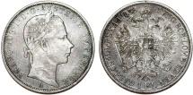World Coins - Austrian Empire. Franz Joseph I. AR 1 Florin 1858A. XF