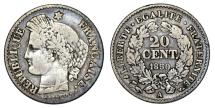 World Coins - France. AR 20 Centimes 1850A. Choice VF