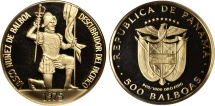 World Coins - Republic of Panama. Gold 500 Balboa 1975. PROOF original package and certificate