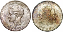 World Coins - Phillipines as Spanish Colony. Alfonso XIII. AR Peso 1897. XF