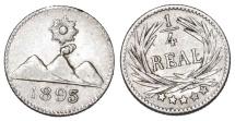 World Coins - Guatemala. AR 1/4 Real 1895. AU+