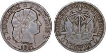 World Coins - Republic of Haiti , SINCE 1863. AE 1 Cent AN78 (1881). VF