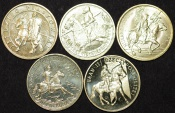World Coins - Poland. Complete lot of 5 coins Commemorating Polish Cavalry struck in Nordic Gold. 2 Zloty 2006-2011. Choice UNC/BU