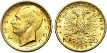 World Coins - Albania, Kingdom. King Zog I. Gold 20 Franga Ari 1927. UNC