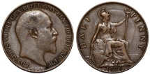 World Coins - Great Britain. king Edward VII (1901-1910). AE 1/2 Penny 1909. Choice VF, double strike